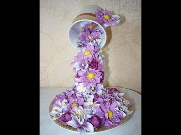 МК летящая чашка с цветами топиарий из цветов MC a flying cup flower Topiary of flowers