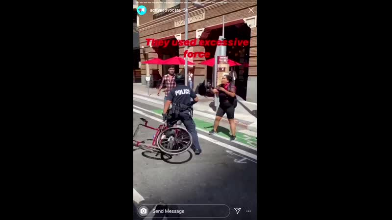 During a peaceful protest in Los Angeles the LAPD knocked a disabled man out of his wheelchair and then they broke it