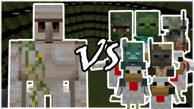 Iron Golem vs Chicken Jockey Army Zombies Husk Drowned Minecraft Mob Battle