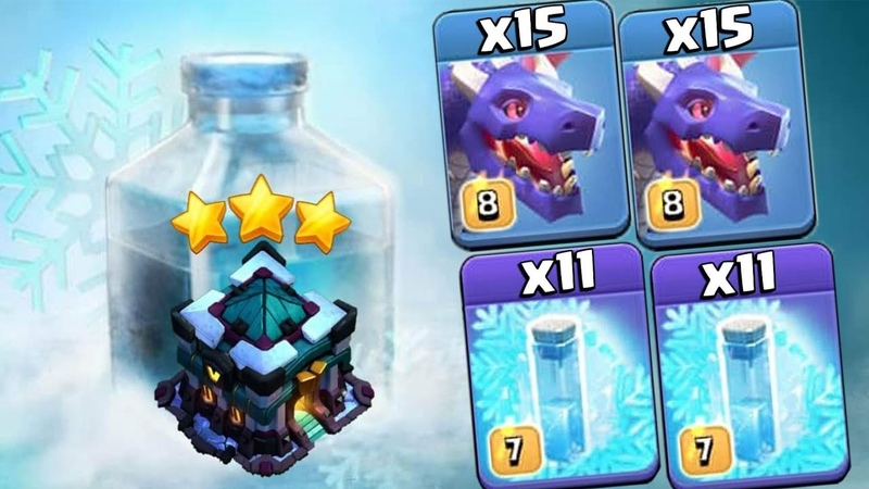 Mass 15 Dragon Mass 11 Freeze Spell War 3star Strategy How to use mass Freeze in War TH13 Bases