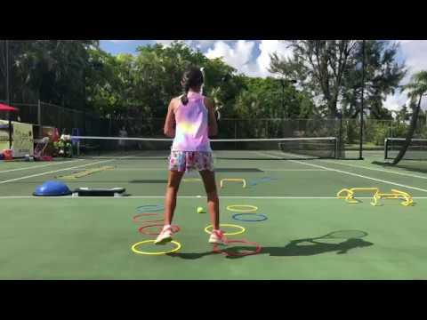 Coach Dabul tennis training 10 years old player Marcela Roversi Tennis drills footwork