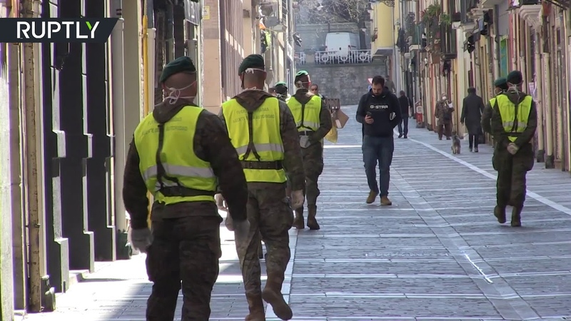 COVID 19 Citizens protest against military presence in Pamplona