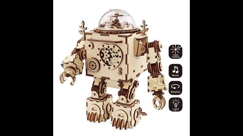 Robotime Steam Punk Music Box Деревянный робот от магазина Поиграйино