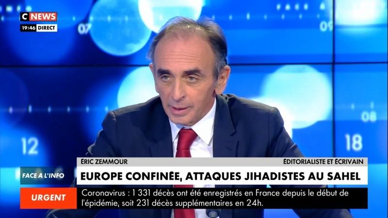Eric Zemmour La pseudo guerre de Macron c'est ridicule Face à l'info 25 03 2020