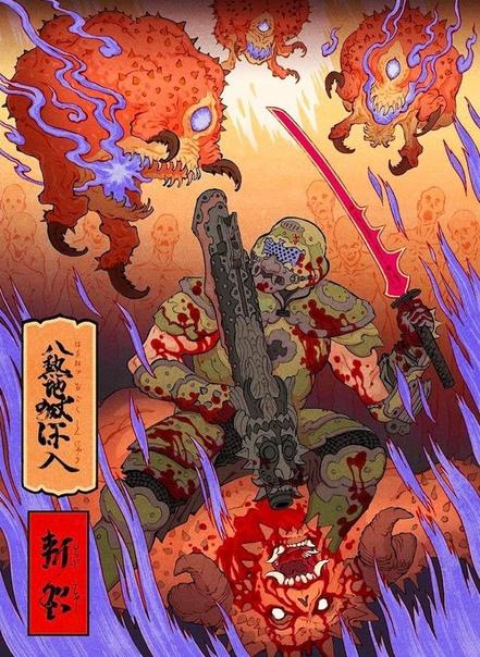 Подборка иллюстраций в стиле традиционной японской гравюры Укиё-э