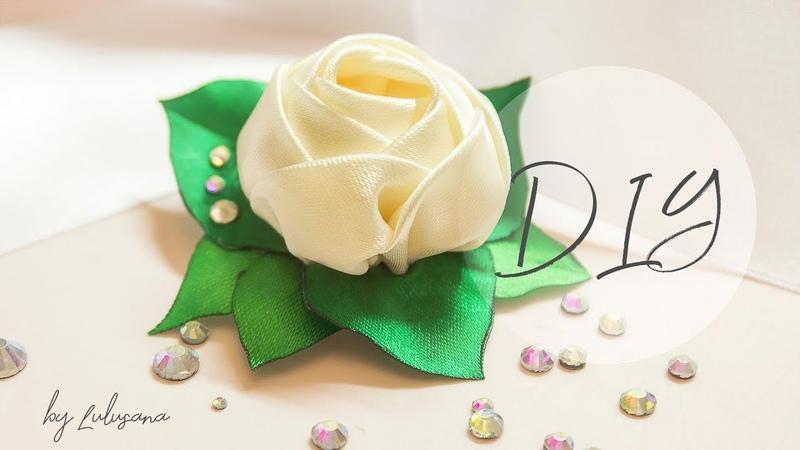 DIY Роза из атласных лент на зажимах своими руками канзаши hair clip rose with rhinestones
