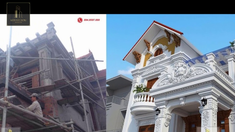 Biệt thự tân cổ điển 2 tầng mái thái Biệt thự 2 tầng kiểu pháp Biệt thự 2 tầng đẹp