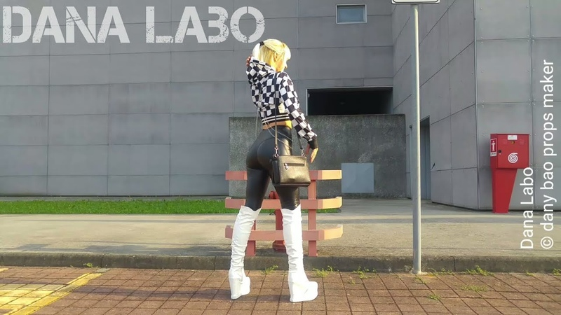 DANA LABO autumn collection walk in tight leggings knee high boots and moto gp checkered jacket