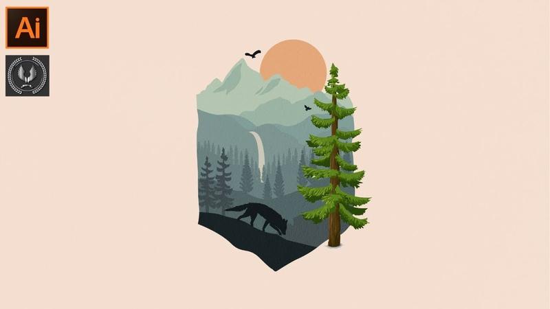 Adobe Illustrator CC Tutorial - How to Make a Beautiful Landscape Background Design