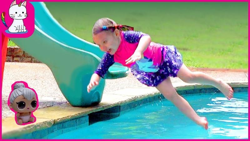 Nadya Plays with Fun Water Slide for Kids Video Nadya's World