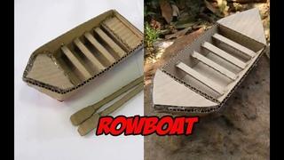DIY. 2วิธีทำเรือพาย จากกระดาษลัง | 2 ways to make a rowboat from paper crates