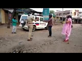 Lady police caning before his wife [360p]