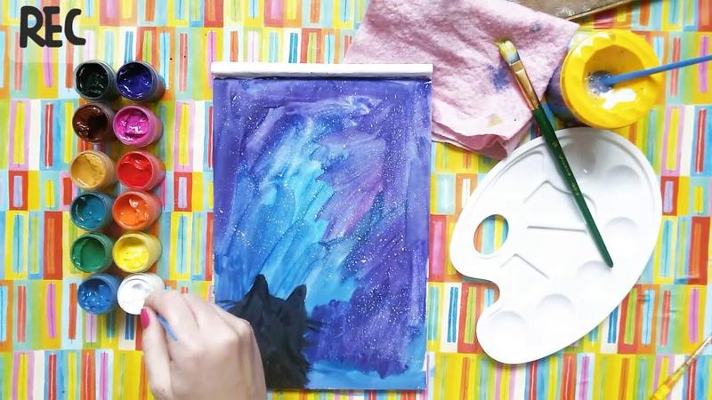 Как нарисовать КОТА И ЗВЕЗДНОЕ НЕБО Урок рисования для детей от 3 лет