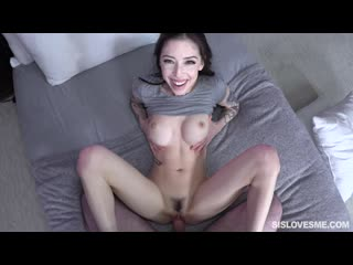 Harlowe Blue - Helpful Sister (Teen, Big Tits, Blowjob, Doggystyle, Fake Tits, Green Eyes, Indoor, Kitchen, Step Sister)
