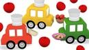 4 voitures colorées. La tarte aux pommes. Dessin animé en français pour enfants.