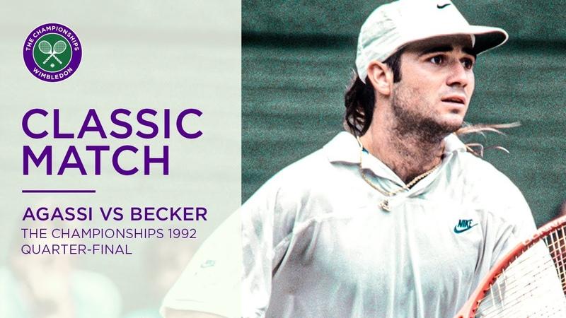 Andre Agassi vs Boris Becker Wimbledon 1992 Quarter final Full Match