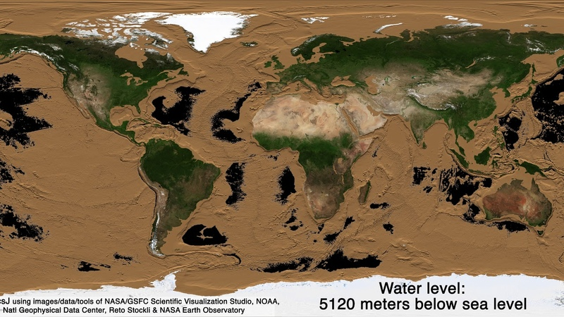 Draining Earth's oceans revealing the two thirds of Earth's surface we don't get to see