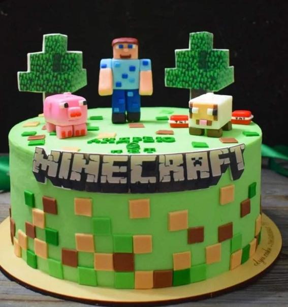 торт майнкрафт на день рождения #8