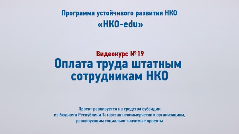19 Оплата труда штатным сотрудникам НКО