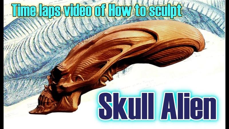 【Sculpting Tutorial 】Amazing Skull Alien Sculpting Time-lapse by AKIHITOスカルエイリアン トップの彫刻家粘土彫刻タ