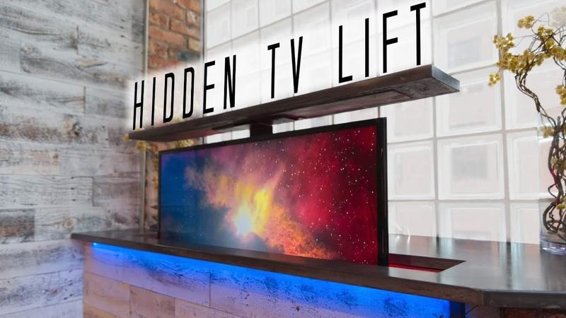 DIY Concrete Countertop w HIDDEN TV LIFT How to Make