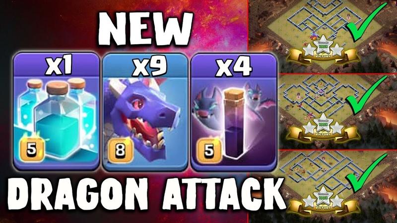 NEW Dragon Attack for TH 13 Dragons Clone Bat E Dragon vs TH13 War Bases Clash Of Clans