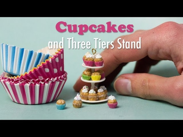 Miniature Cupcakes and Three Tiers Stand Tutorial Dollhouse Food