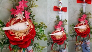É  para faturar uma grana.  porta pano de prato na conha com ninho de pássaros na rosa de eva