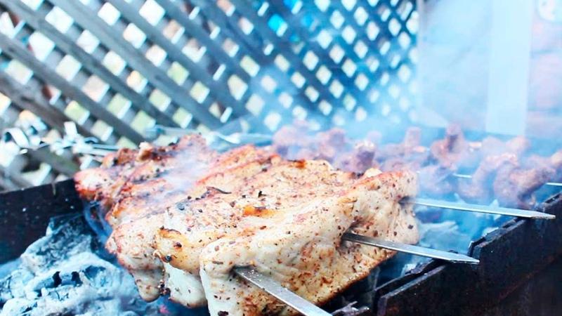 Лучший шашлык Рецепт Шашлыка или жареного мяса с салом грибами на мангале Маринад для Шампиньонов
